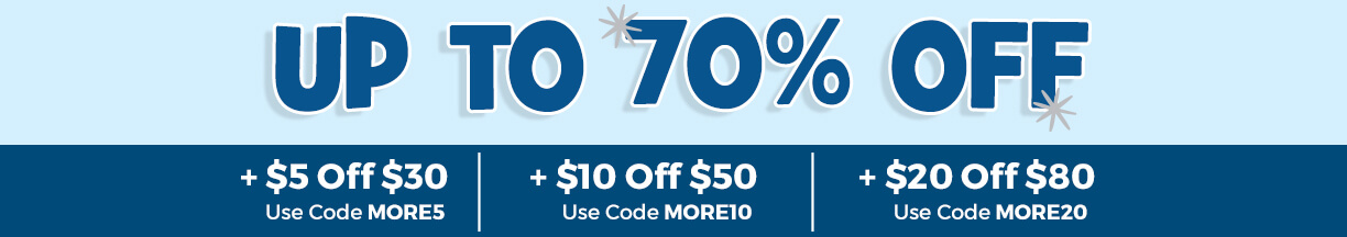 This week only, get $5 off 20 with code MORE5, $10 off $50 with code MORE10 or $20 off $80 with code MORE20