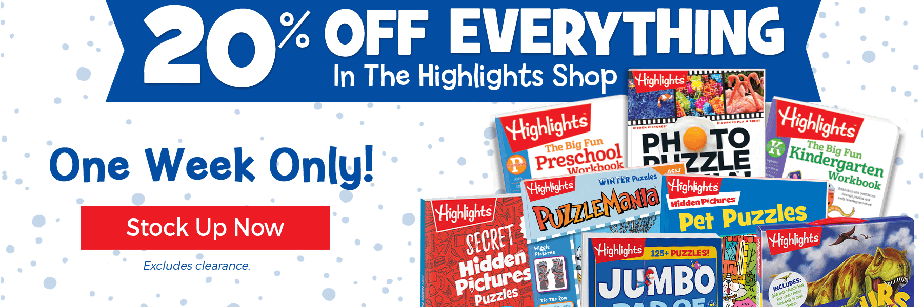 For one week only take20% off everything in The Highlights Shop, excluding clearance items