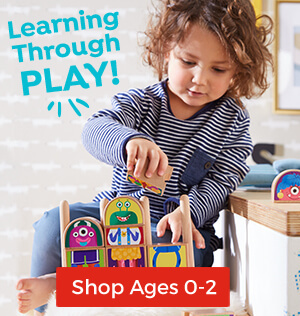 These toys and books support learning through play for babies and toddlers ages 0 to 2.