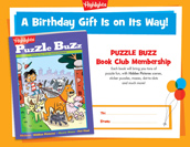 Puzzle Buzz Certificate Birthday Gift Announcement