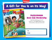 Puzzlemania Certificate Anytime Gift Announcement