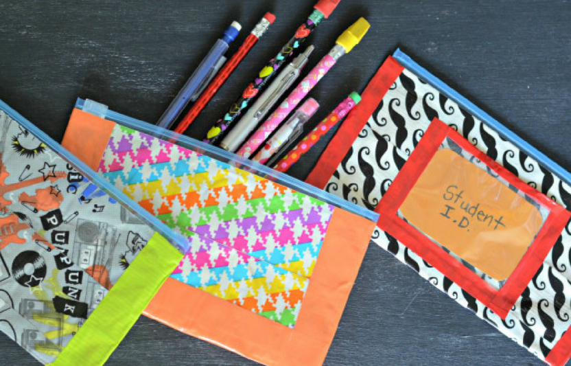 Who knew that you could make such cute pencil pouches out of sandwich baggies and duct tape?