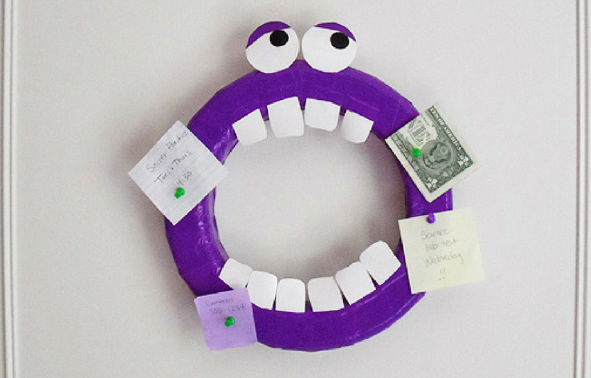 Cover craft foam in duct tape to create this monsterific DIY bulletin board.