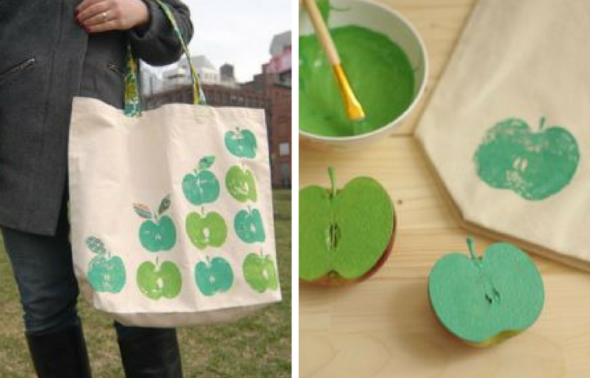 Apple-stamp a blank canvas bag for a one-of-a-kind teacher's tote.