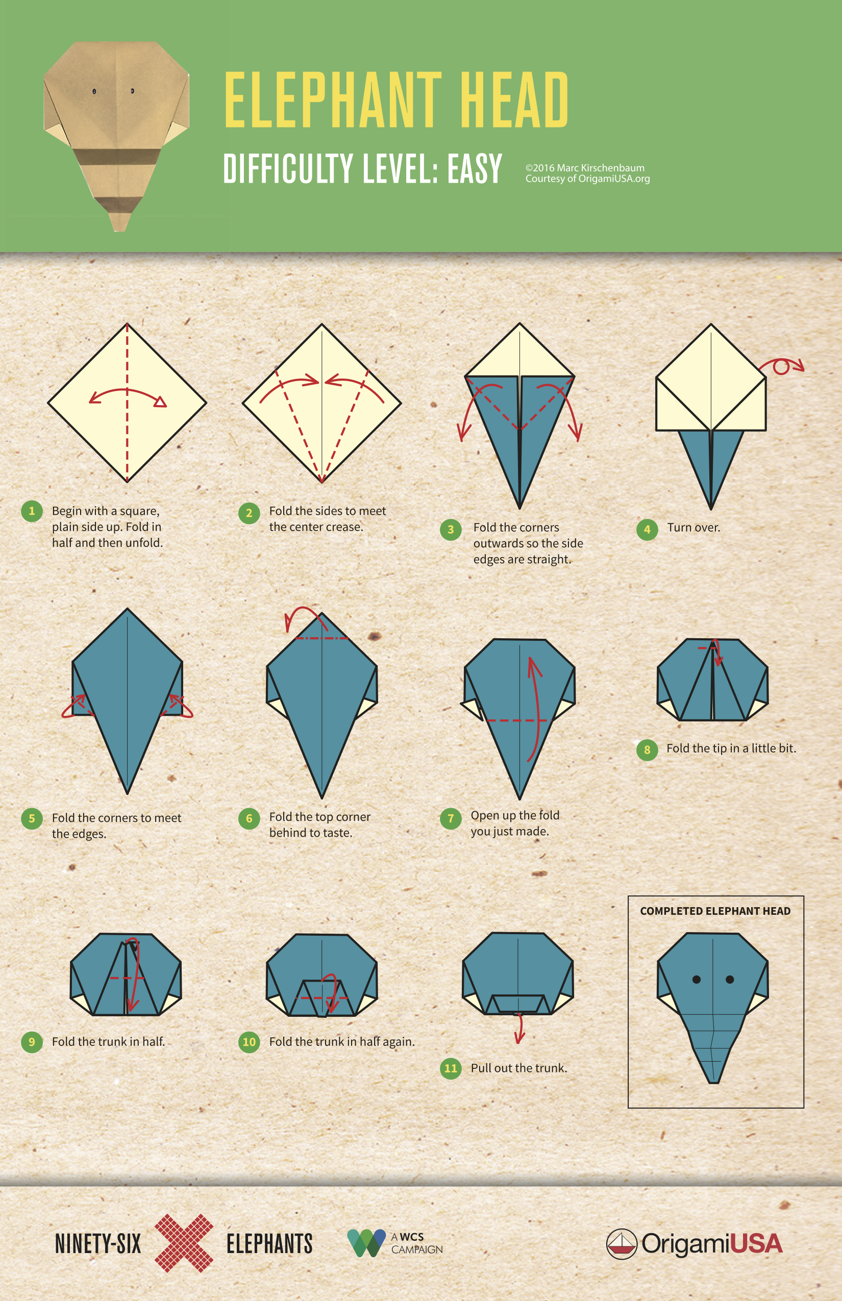 Easy Origami Elephants