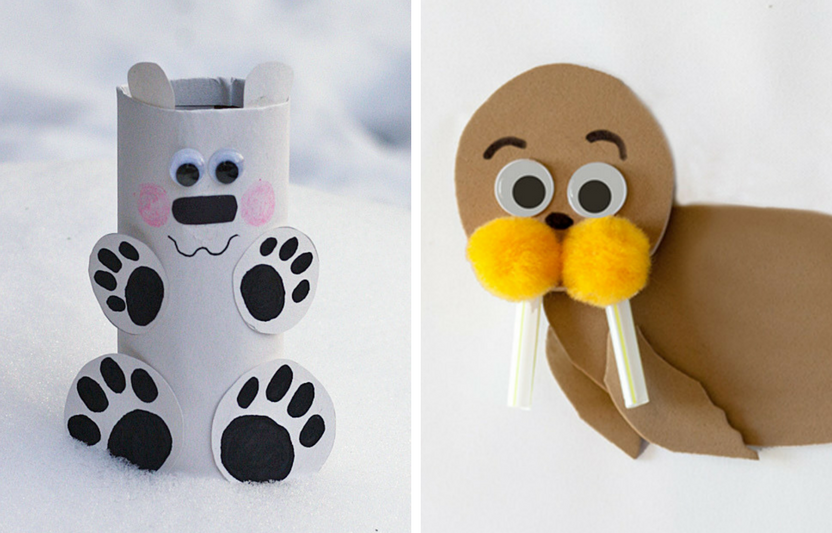 Celebrate winter by crafting these cute, cold-weather animals with your kiddos.
