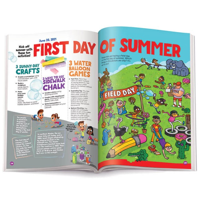 First Day of Summer page with activity ideas and a puzzle