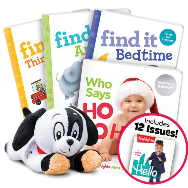 Christmas Gift Set with 4 books and plush dog toy, plus Hello magazine subscription