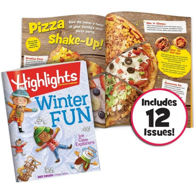 Highlights magazine and 2-page pizza recipe