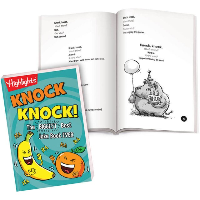 Knock Knock book with pages of animal-themed jokes and illustrations