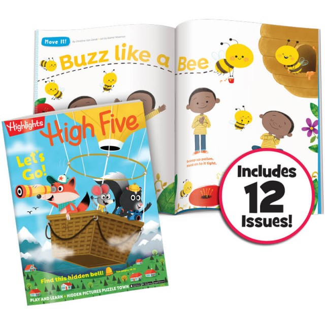 High Five magazine and buzz like a bee activity