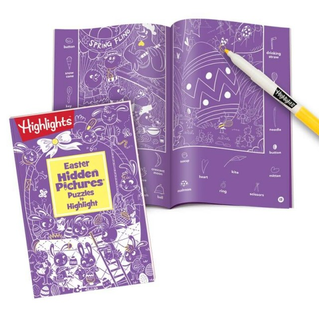 Easter Hidden Pictures Puzzles to Highlight book and Spring Fling puzzle with yellow marker