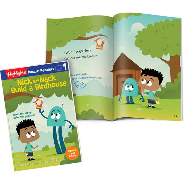 Nick and Nack Build a Birdhouse book plus a Hidden Pictures scene from the story
