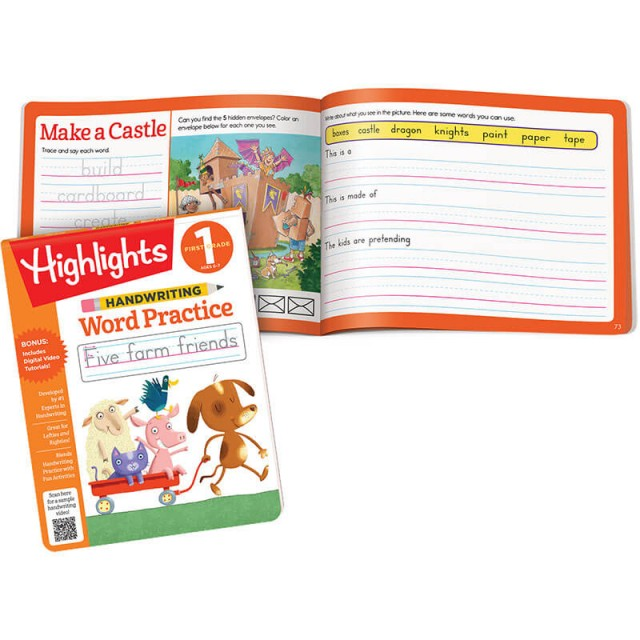 Handwriting Word Practice Pad, a word list to trace and writing prompts