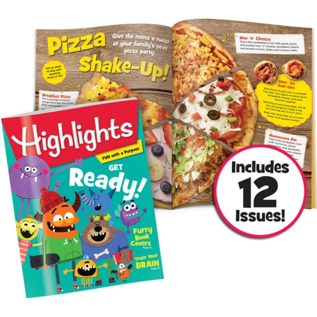 Highlights magazine with pizza recipes page