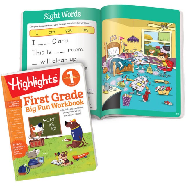First Grade Big Fun Workbook and pages with sight words and puzzle