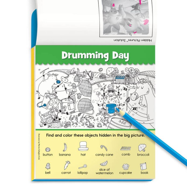 Drumming Day Hidden Pictures puzzle and blue colored pencil