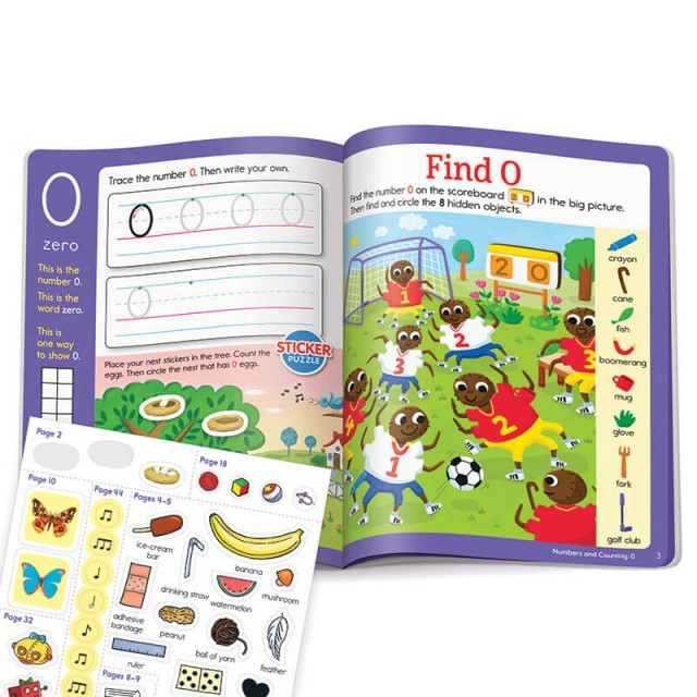 Learning number 0 with stickers and Hidden Pictures puzzle