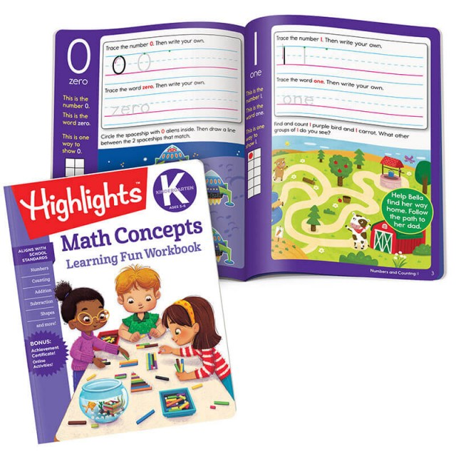 Learning Fun Workbook: Math Concepts and pages for numbers 0 and 1