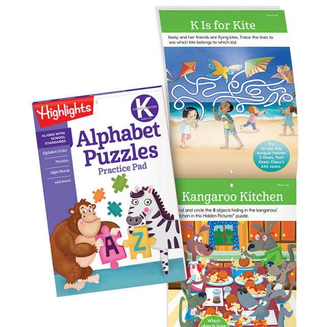 Alphabet Puzzles Practice Pad and practice page for letter K