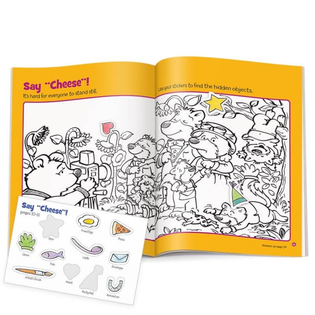 Two-page puzzle scene of bear family with sticker sheet