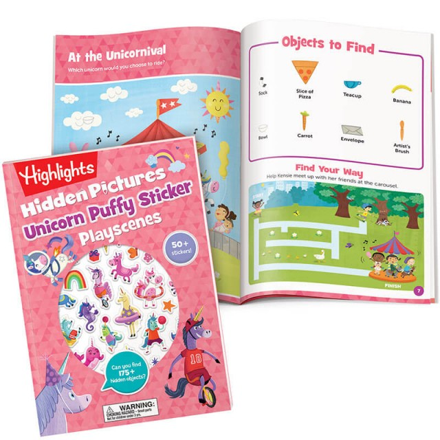 Hidden Pictures Unicorn Puffy Sticker Playscenes book and carousel puzzle