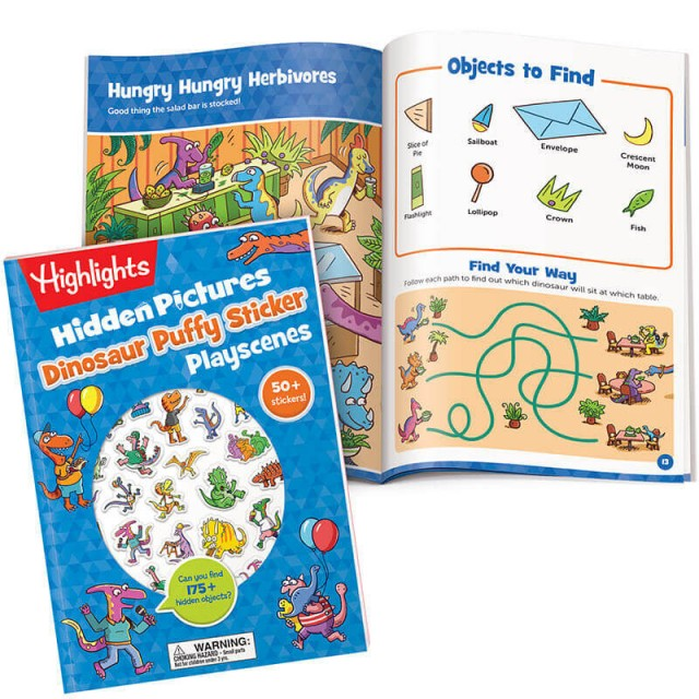 Hidden Pictures Dinosaur Puffy Sticker Playscenes book and Hungry Hungry Herbivores puzzle