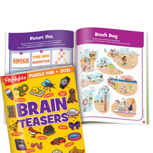 Brain Teasers book, a page of word puzzles and a beach events puzzle