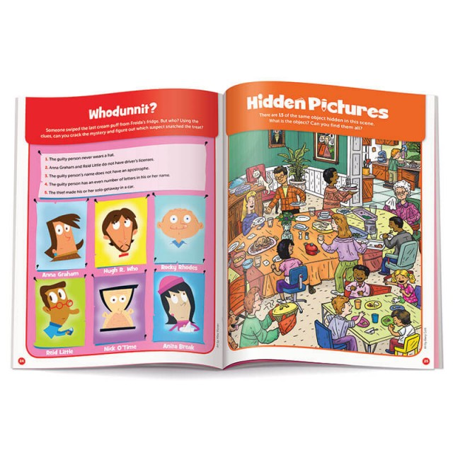 A logic puzzle and a Hidden Pictures scene of a large family dinner