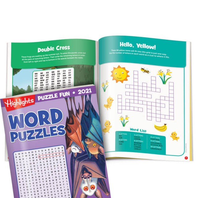 """Word Puzzles book, """"Double Cross"""" puzzle and a fill-in puzzle"""