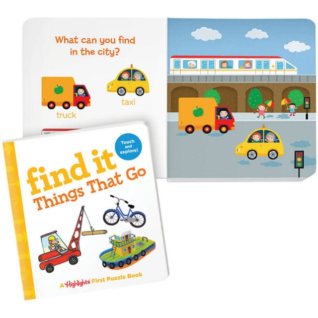 Find It: Things That Go book and city scene
