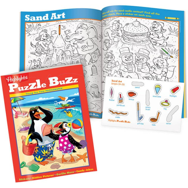 Puzzle Buzz book and black-and-white Hidden Pictures scene with stickers
