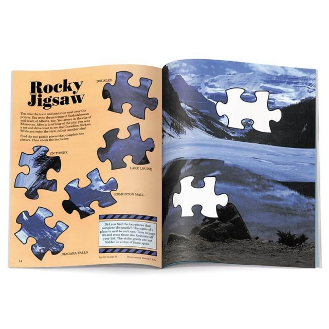 A fill-in jigsaw piece puzzle set in the Rocky Mountains