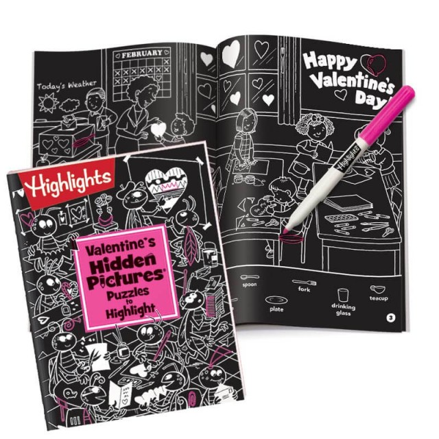 Valentine's Hidden Pictures puzzle book and highlighter