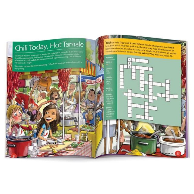 A crossword puzzle and information about Tex-Mex food