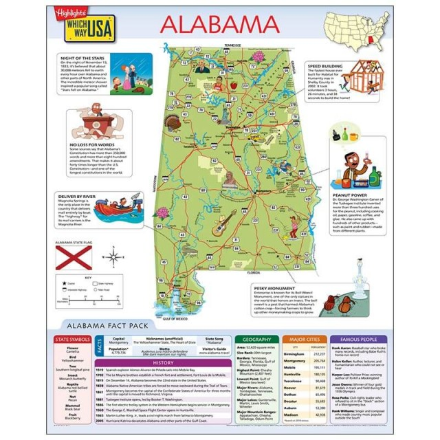 The Alabama map open to show facts and illustrations