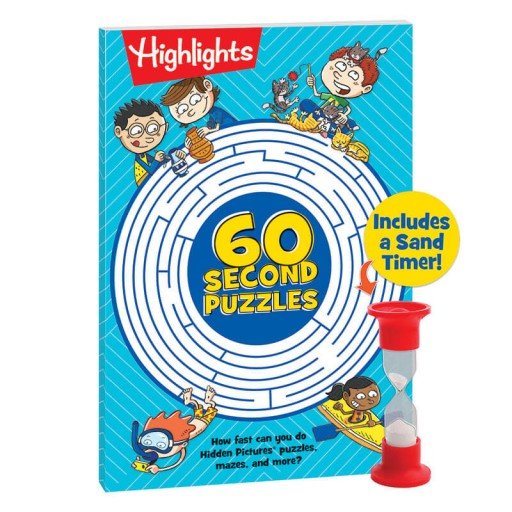 60-Second Puzzles book and 1-minute timer
