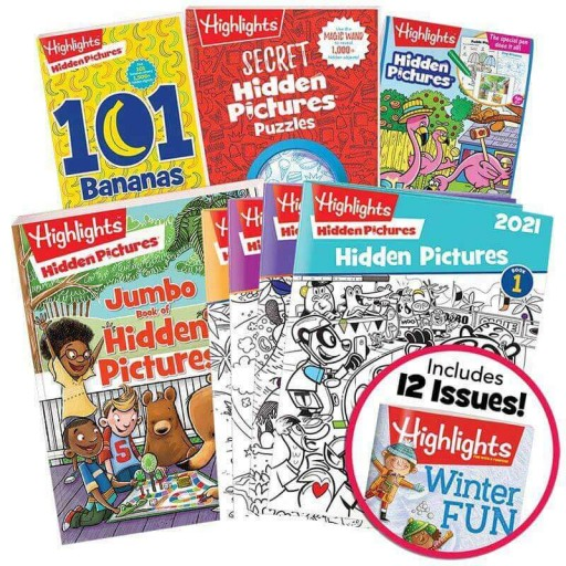 Deluxe Hidden Pictures Gift Set with 4 books, Hidden Pictures 2021 4-book set and Highlights magazine subscription