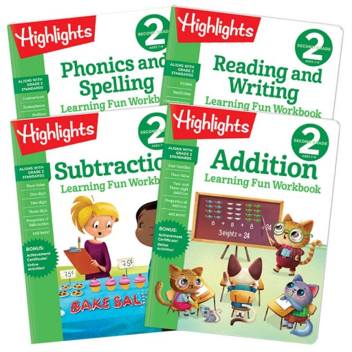 Learning Fun Workbooks Second Grade 4-Book Set
