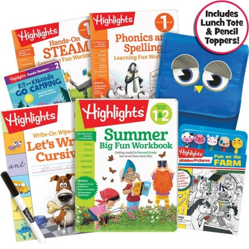 Premium Summer Learning Pack: 1-2, with 5 books, lunch tote and pencil toppers kit